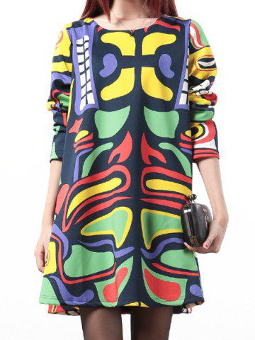 Latest Casual Scoop Neck Long Sleeve Printed Loose-Fitting Women's Dress