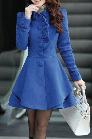 Outfit Stylish Stand-Up Collar Long Sleeve Solid Color Flounced Women's Coat