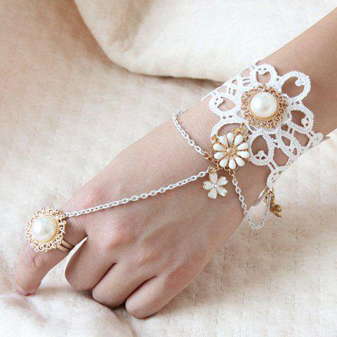 Affordable Vintage Women's Pearl Flower Lace Bracelet With Ring