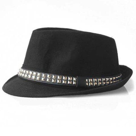 Chic Hot Sale Stud Design Felt Fedora Hat For Men and Women - ONE SIZE(FIT SIZE XS TO M) BLACK Mobile