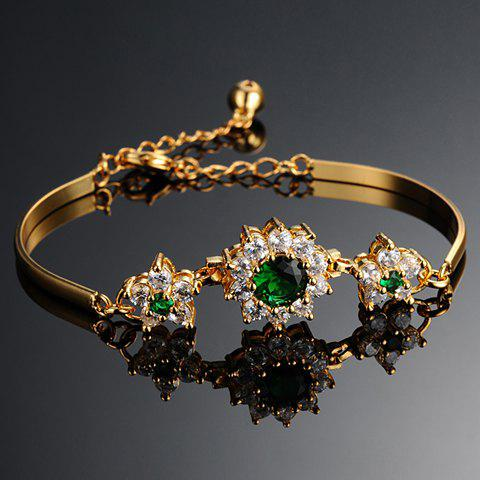 Outfits Flower Rhinestone Bracelet - COLORMIX  Mobile