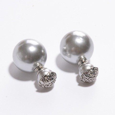 Shops Pair of Women's Shining Pearl Embellished Earrings SILVER GRAY