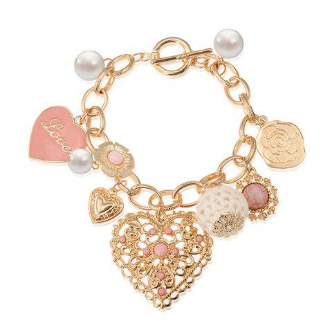 New Heart Shape Openwork Embellished Bracelet