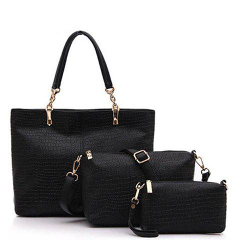 Latest Trendy Solid Color and Crocodile Print Design PU Leather Women's Shoulder Bag