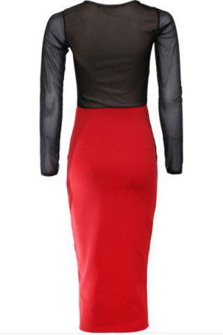 Trendy Long Sleeves Color Block Lace Splicing Long Bodycon Dress - 2XL RED WITH BLACK Mobile