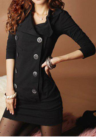 Unique Stylish Turn-Down Collar Long Sleeve Double-Breasted Dress For Women
