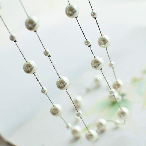 Fancy Sweet Women's Pearl Layered Sweater Chain Necklace - SILVER  Mobile