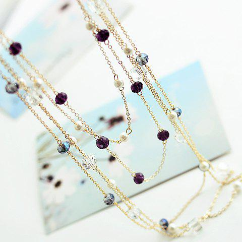 Buy Gorgeous Women's Black Beads Embellished Sweater Chain Necklace - COLOR ASSORTED  Mobile