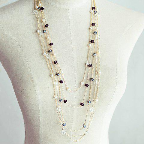 Trendy Gorgeous Women's Black Beads Embellished Sweater Chain Necklace COLOR ASSORTED