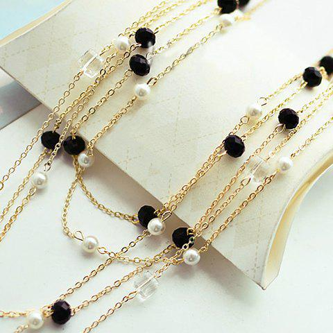 Best Gorgeous Women's Black Beads Embellished Sweater Chain Necklace - COLOR ASSORTED  Mobile