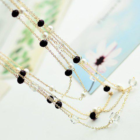 Hot Gorgeous Women's Black Beads Embellished Sweater Chain Necklace - COLOR ASSORTED  Mobile