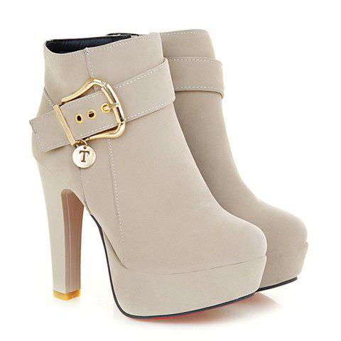 Outfit Trendy Chunky Heel and Metallic Buckle Design Women's Suede Boots