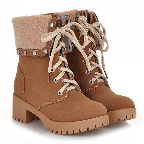 Sale Preppy Turnover and Rivets Design Women's Short Boots BROWN 38