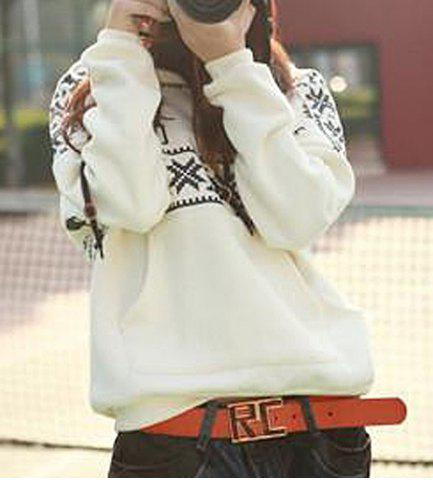 Online Stylish Hooded Long Sleeve Snowflakes Fawn Pattern Loose-Fitting Women's Hoodie WHITE ONE SIZE(FIT SIZE XS TO M)