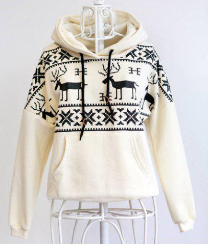 Buy Stylish Hooded Long Sleeve Snowflakes Fawn Pattern Loose-Fitting Women's Hoodie - ONE SIZE(FIT SIZE XS TO M) WHITE Mobile