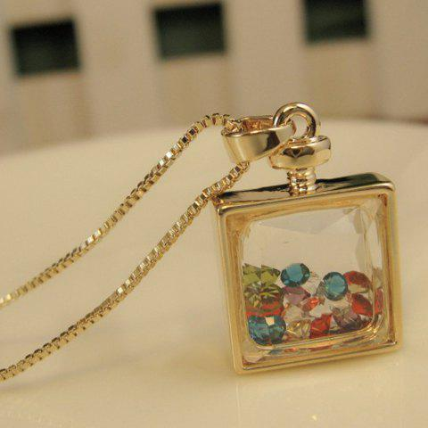 Unique Alloy Faux Crystal Embellished Perfume Bottle Pendant Necklace