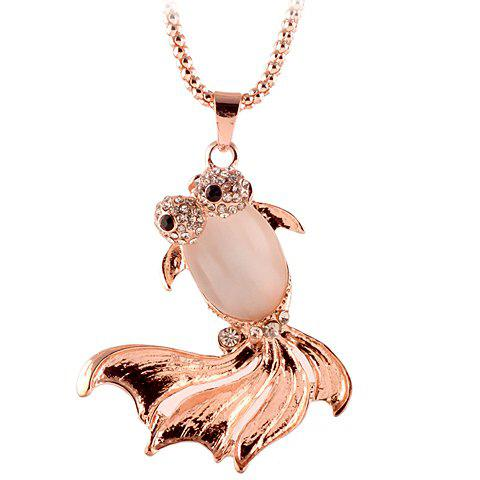 Hot Noble Women's Rhinestone Embellished Fish Shape Pendant Sweater Chain Necklace
