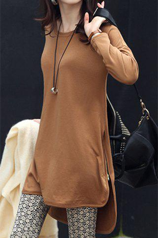 Trendy Stylish Jewel Neck Long Sleeve Zippered Solid Color T-Shirt For Women - XL CAMEL Mobile