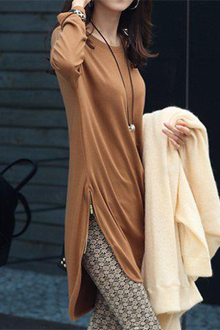 Shop Stylish Jewel Neck Long Sleeve Zippered Solid Color T-Shirt For Women - XL CAMEL Mobile