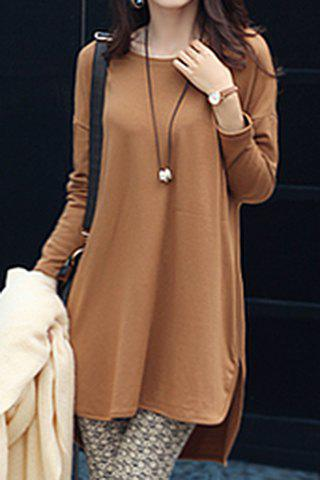 Fancy Stylish Jewel Neck Long Sleeve Zippered Solid Color T-Shirt For Women