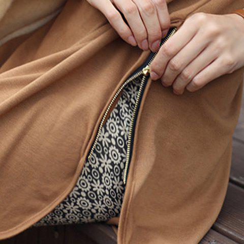 Sale Stylish Jewel Neck Long Sleeve Zippered Solid Color T-Shirt For Women - XL CAMEL Mobile