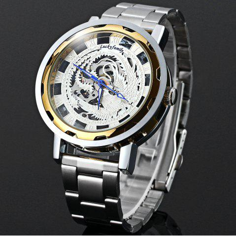 Cheap Lucky family Automatic Mechanical Watch Phoenix Pattern Hollow-out Round Dial Stainless Steel Strap for Women
