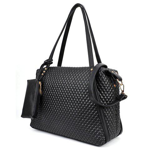 New Fashion Checked and Black Design Women's Shoulder Bag - BLACK  Mobile