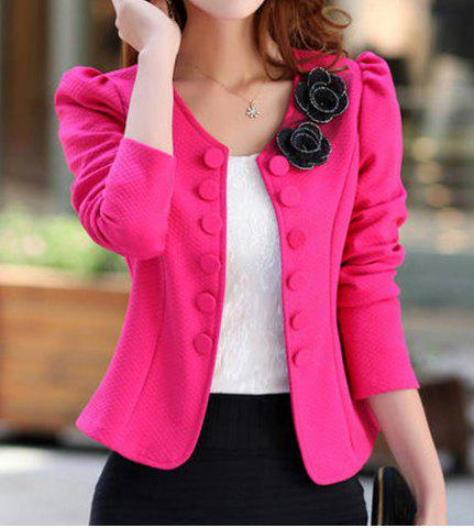 Affordable Bowknot Applique Single-Breasted Short Blazer - 3XL PLUM Mobile