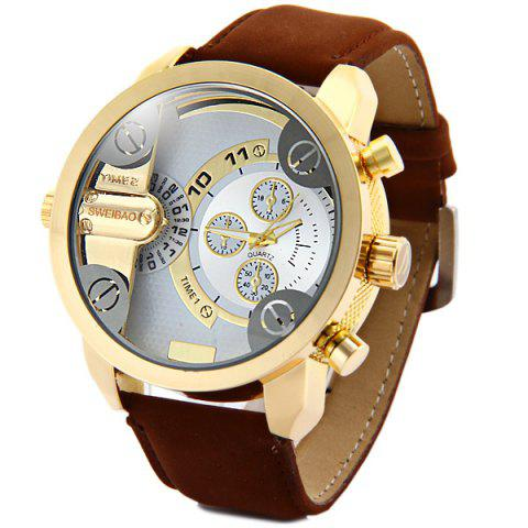 Buy Shiweibao A3132 Dual Movt Male Quartz Watch Leather Strap Round Dial BROWN