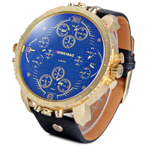 Trendy Shiweibao A1165 4-movt Quartz Watch Big Round Dial Day Leather Watchband for Men