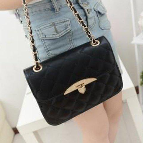 Store Fashion Metallic Hasp and Checked Design Women's Shoulder Bag - BLACK  Mobile