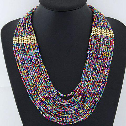 New Statement Beads Embellished Multilayered Necklace AS THE PICTURE