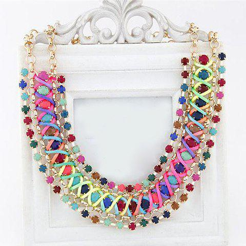Shop Statement Woven Faux Gemstone Embellished Necklace COLORFUL