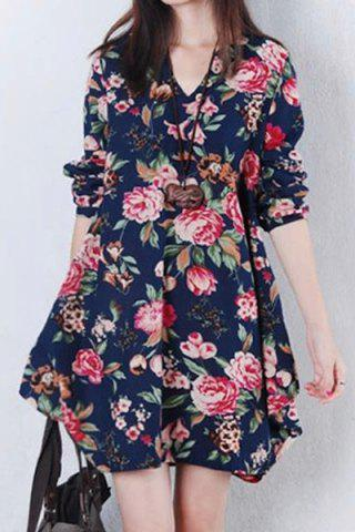 Shops Sweet V-Neck Long Sleeves Floral Printed Dress For Women