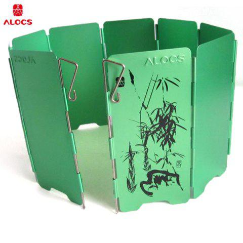 Outfits ALOCS CS-B05 Aluminum Alloy 9-piece Wind Screen Windshield Stove Fender Board for Outdoor Camping - Season Serial - GREEN  Mobile