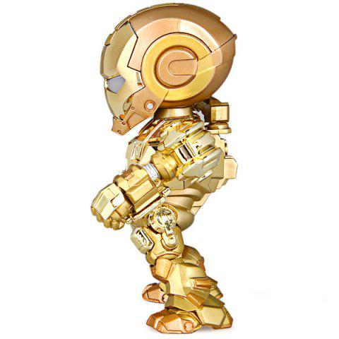 Unique Cool Funny Appearence Mini Iron Man Movable Joints PVC Figure Model Doll with Weapon Replaceable Hands - GOLDEN  Mobile