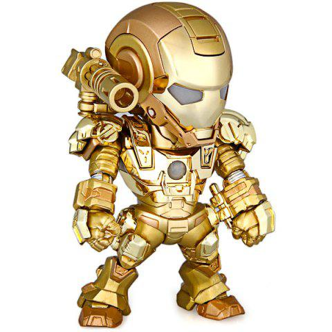 Cheap Cool Funny Appearence Mini Iron Man Movable Joints PVC Figure Model Doll with Weapon Replaceable Hands - GOLDEN  Mobile