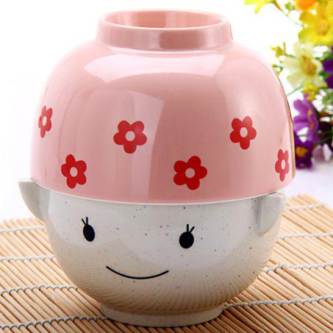 Store Cute MM Plastic Cup Bowl Unbreakable Rice Soup Bowl for Christmas Valentine Gift