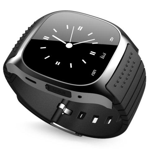 Unique RWATCH M26 Bluetooth Watch LED Light Display with Dial / Call Answer / SMS Reminding / Music Player / Anti-lost / Passometer / Thermometer for Samsung / HTC - BLACK  Mobile