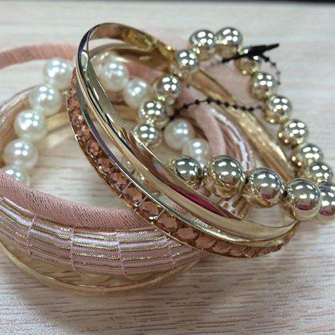 Sale A Suit of Gauze Bowknot and Rhinestone Design Beading Bracelets PINK RANDOM PATTERN