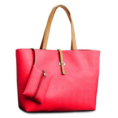New Pretty Style Candy Color and Buckle Design Women's Shoulder Bag - RED  Mobile