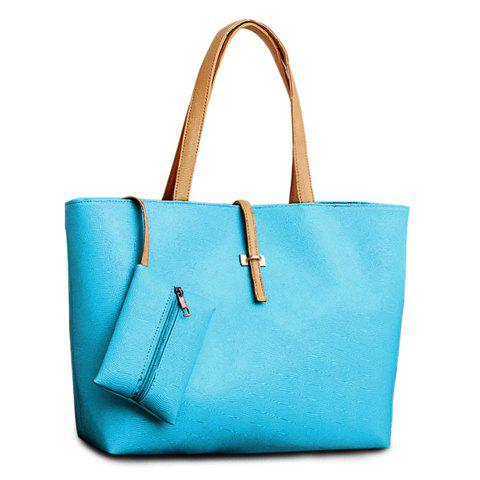 Outfits Pretty Style Candy Color and Buckle Design Women's Shoulder Bag - BLUE  Mobile