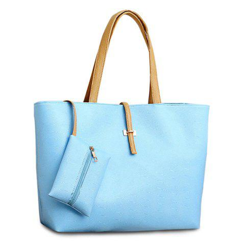 Pretty Style Candy Color and Buckle Design Women's Shoulder Bag - AZURE