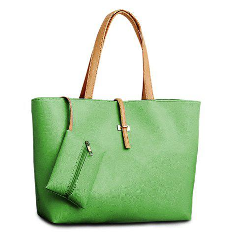 Shop Pretty Style Candy Color and Buckle Design Women's Shoulder Bag - APPLE GREEN  Mobile