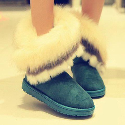 Outfits Furry Trim Ankle Boots - 38 GREEN Mobile