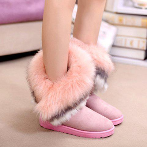 Latest Furry Trim Ankle Boots - 38 PINK Mobile