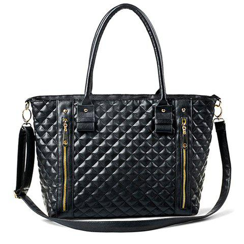 Trendy Fashion Checked and Zip Design Women's Shoulder Bag