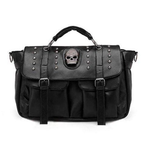 Latest Punk Rivets and Skull Design Women's Tote Bag BLACK