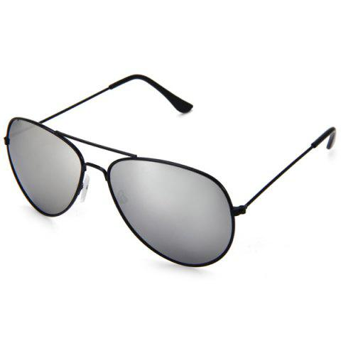 Hot Fashionable UV400 Metal Frame PC Sunglasses Eyewear Retro Eyes Protector Outdoor Activities Leisure Necessaries - SILVER  Mobile