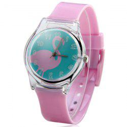 Red-crowned Crane Pattern Female Quartz Watch Round Dial Plastic Watchband -